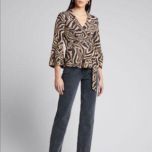 GANNI Tiger Print Wrap Blouse Size 40 US 8